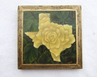 Yellow Rose of Texas--Small Giclee Print on Wood Block--Traditional Texas Wall Decor--Yellow Rose--Gift for Home.