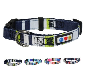 Polyester Small Dog Collar 5/8 Inch  Green, White and Blue