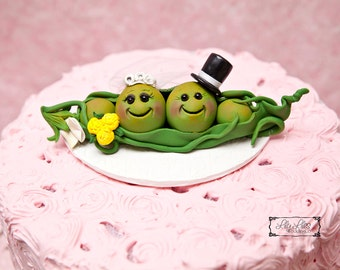 Custom Wedding Cake Topper  Peas in a Pod Cake Topper, bride, groom,clay character topper,Birthday, personalized, handmade, Anniversary topp