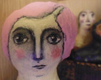 Folk art Doll, Art Doll, Cloth and Clay Doll