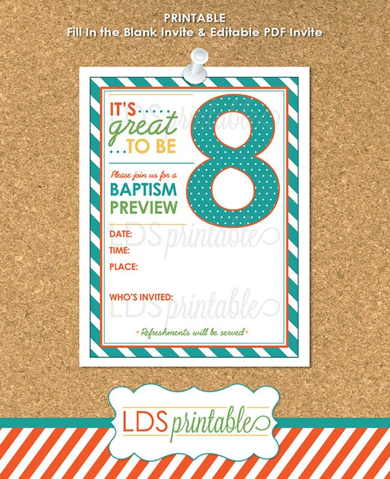 PREI001 Great To Be Eight Baptism Preview for LDS by LDSPrintable
