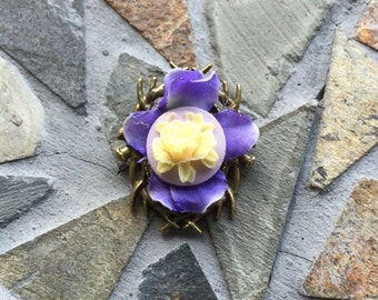 Purple Yellow and White Antiqued Brass Brooch Pin