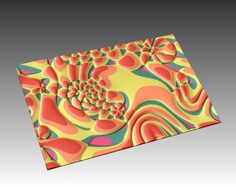 Decorative abstract 3D relief sculpture model for CNC machining Flow 7846