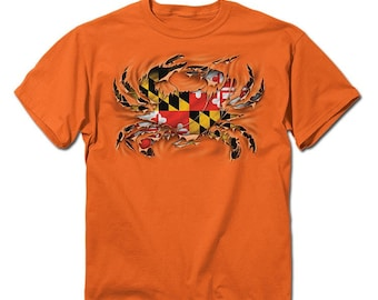 Maryland Crab Ripped Orange T-Shirt