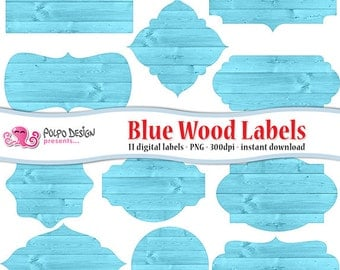 Blue wood digital labels clip art. Commercial & personal Use.Instant Download. clipart frame label tags light baby boy scrapbooking new born