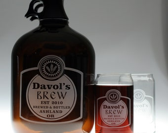 Custom HomeBrew Growler and Glasses with Classy Brew design. fathers day gift,custom pint,engraved pint, custom Beer Glass, custom growler