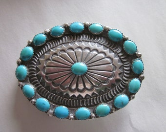 Native American Silver and Turquoise Buckle