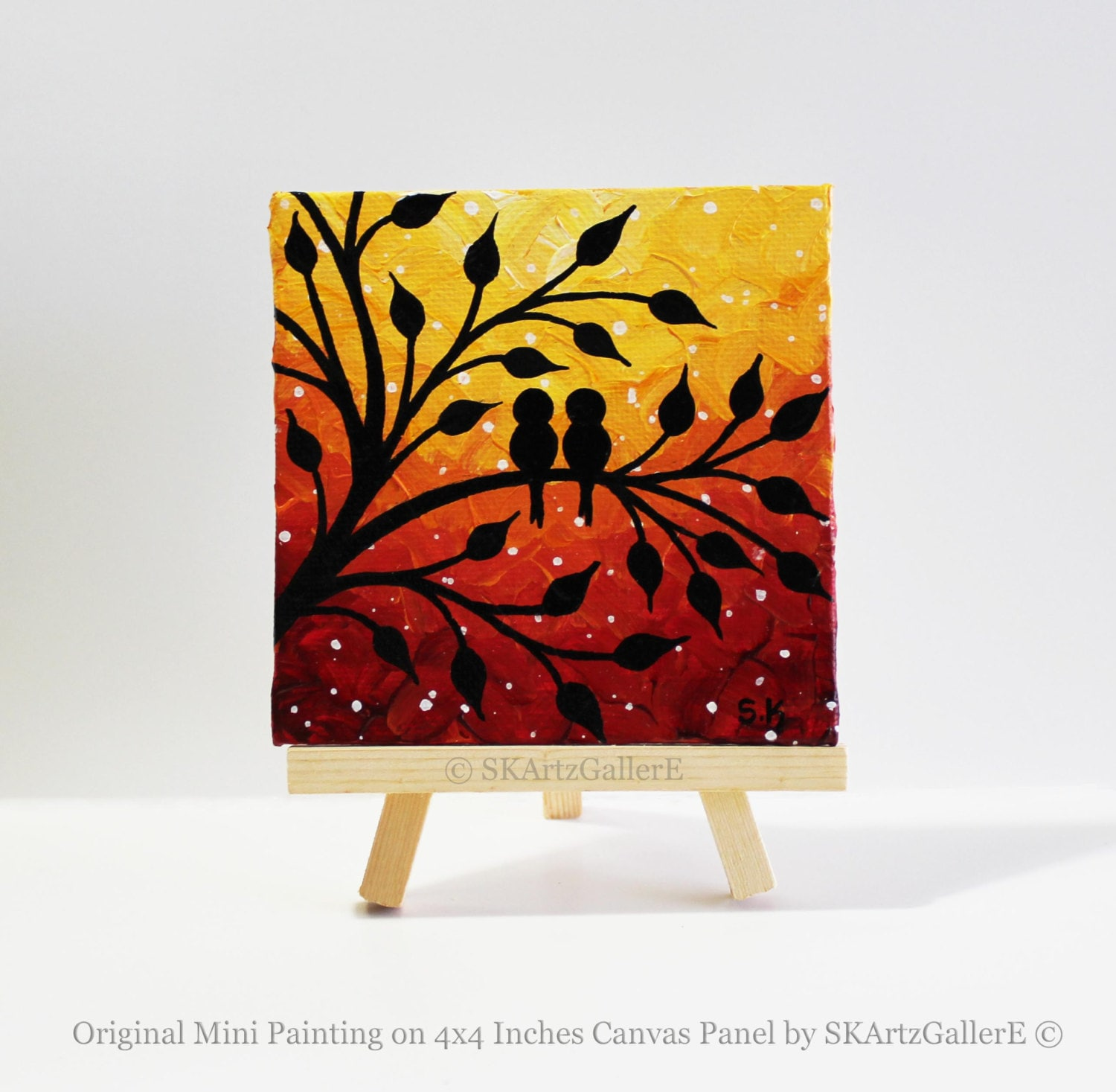 Love birds painting mini canvas art sunset painting for Canvas to paint on