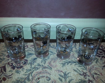 Vintage Libby Set of FOUR Antique Car Drinking Glasses