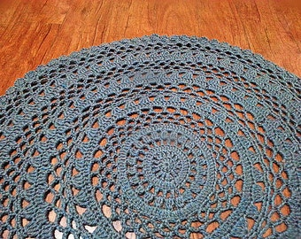 Father's day gift/Large Crochet blue gray Floor Rug/Doily Lace Rug Carpet/Floor Mat/Area Rug/Nursery Rug