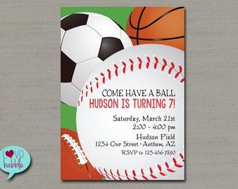 Sports Basketball Soccer Football Baseball Birthday invitation, Field Day, Game Day Invitation - PRINTABLE DIGITAL FILE - 5x7