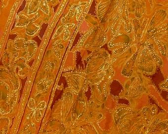 Indian 100% Zari silk sari or saree, 6 yards 42 inches wide, hand beaded, gorgeous piece.