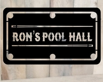 """Metal Cut pool table sign pool room sign billiards sign sign for man cave decor game room decor metal cut sign wall hanging 22""""x13"""""""