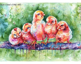 baby chicks  - mounted original painting