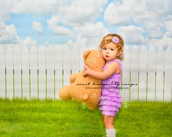 6ft.x8ft White Picket Fence All in One Vinyl Photography Backdrop