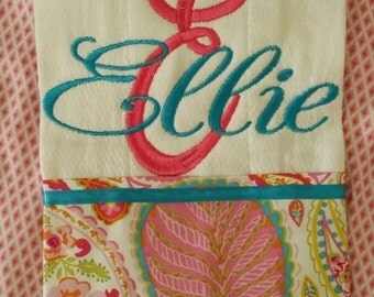 Pink paisley burp cloth with embroidered initial and name