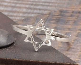 925 stering silver star of david band ring (R_00024)
