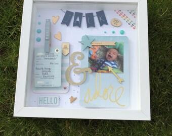 Little boy white / blue / gold memory frame