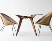 modern dining table, modern table, walnut dining table, dining table, glass table, glass dining table