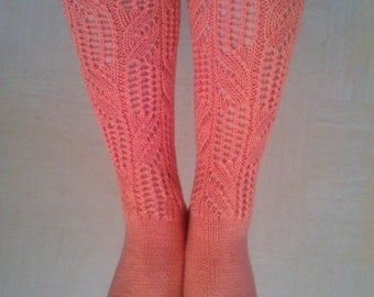 Hand Knitted Wool Socks! Orange Knee High Socks With Beautiful Lace Pattern! Gift for Her. Size:4-7UK