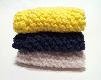 Dish Cloth Trio - Lemon, Navy, and White