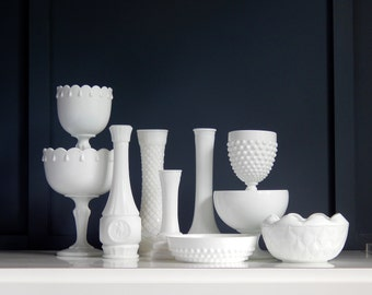 Vintage Milk Glass Eclectic Instant Collection 8 Pieces