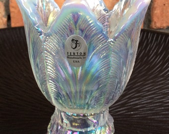 Fenton Opalescent Two way Candle holder votive/taper