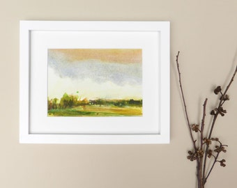 "Original One of a Kind Watercolour Landscape Painting, Mounted and Ready for 8"" x 10"" / 20.3cm x 25.4cm Framing!"
