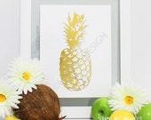 Gold foil Pineapple Print- Handmade gold print