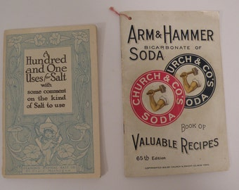 1910's Arm & Hammer Soda, A Hundred and One Uses For Salt by Diamond Crystal Salt Company Lot of Two Antique Advertising Booklets