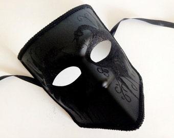 Black Masquerade Mens Mask Mens Bauta Mask Swan Deco Mens Venetian Full Face Mask