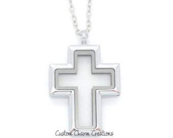 "Floating Locket * Cross * Magnetic * Religious Memory Necklace (Includes 19"" Chain) (LOC55)"