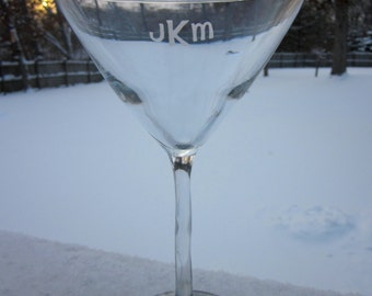 Etched Monogrammed Martini Glass