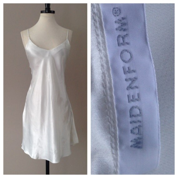 Satin nightie slip dress chemise white bridal by lustnlux for White silk slip wedding dress