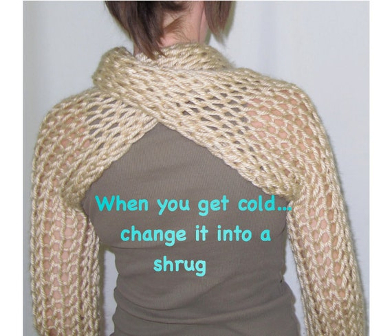 Shrug Knitting Patterns For Beginners : knitting for beginners tutorial, Bulky Knit Scarf/ shrug Tutorial, Beginners ...