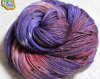 Berry Tweeds To See You! DYED TO ORDER 100g 435yd 2 ply Donegal Tweed Sock / Fingering Yarn - 85/15% Superwash Merino Wool / Nylon Tweed