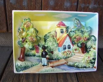 3 D Country Scene Ceramic Wall Home Decor Mid Century Plaque