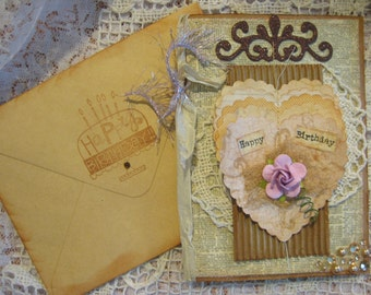 Handmade Birthday card with vintage crocheted doilie and corrugated paper