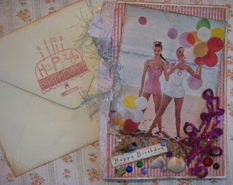 Vintage style birthday card, beach theme