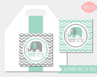 PRINTABLE Baby Shower Elephant Favor Tags (INSTANT DOWNLOAD) - Gray & Pool