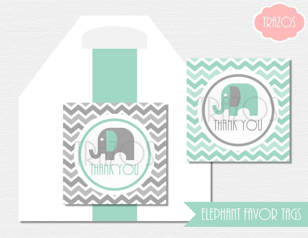Printable baby shower elephant favor tags instant download gray pool from trazosstudio on for Printable baby shower favor tags