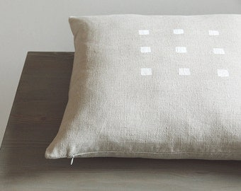 Natural Grey Flax Pillow Cover for Decorative Throw Cushion - Zippered, Handpainted - Linen Pillowcase - Kissen, Coussin | 0022