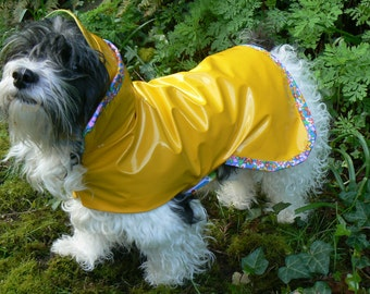 Cute Dog Rain Coat / Hat sold Separately Add 15.00 / Custom Made to your Dogs Measurements / Quality made lined and light weight