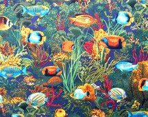 Popular items for fish quilt fabric on etsy for Rainbow fish fabric