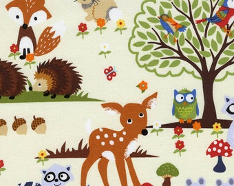 Woodland Animal Fabric, Timeless Treasures Gail C1104 Bright Eyed & Bushy Tailed, Baby Quilt Fabric, Foxes, Fawn, Hedgehogs, Owls, Cotton