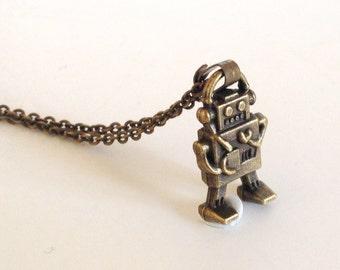 Antique Bronze Tiny Robot Necklace  - Antique Brass - Mini - Pendant Jewelry - Roboter - Cute - Machine - Kid