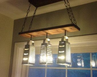 Grater Chandelier - Modern Ceiling Light - Industrial Chandelier - Dining Fixture