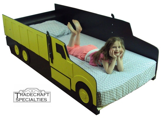 Dump Truck Twin Kids Bed Frame Handcrafted By TradecraftSpec