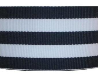 "1.5"" NAVY & WHITE Grosgrain Mono Stripe Ribbon - Navy and White Stripes - Offray - Thick Stripes"