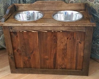 Marvelous Raised Rustic Dog Feeder With Storage, Elevated Dog Feeder, Rustic Dog  Feeder, Western